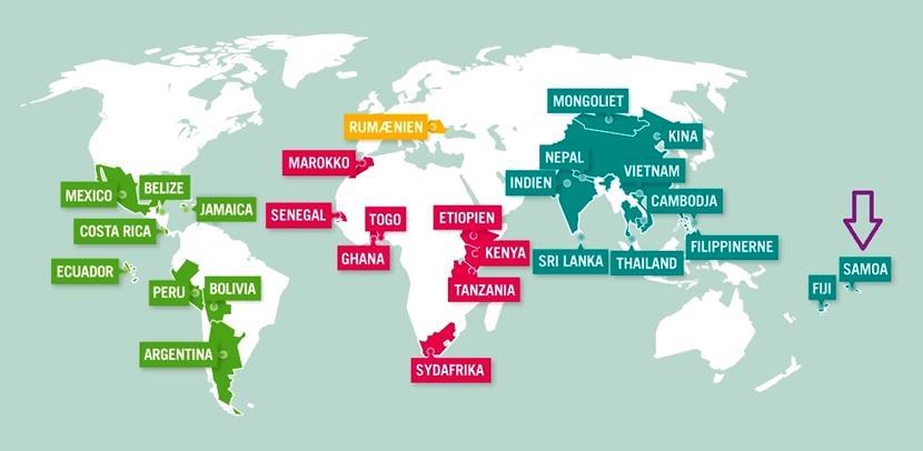 Samoa på kort over Projects Abroad destinationer