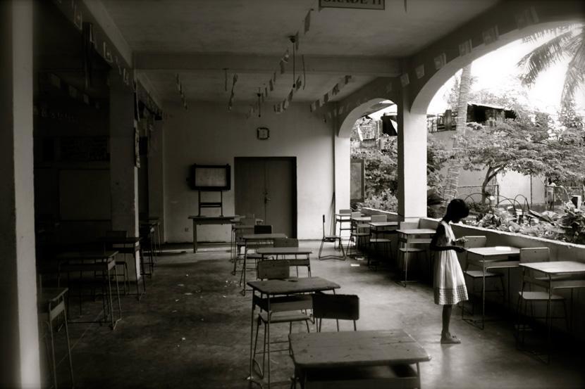 L'aula di un orfanotrofio
