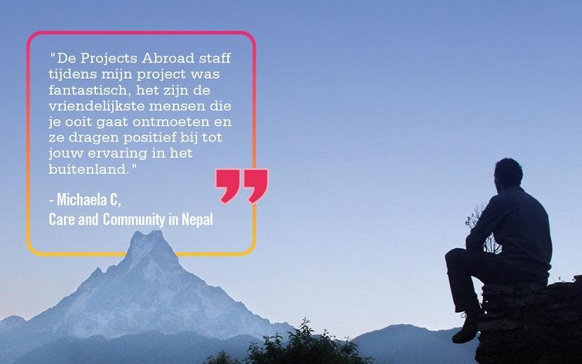 Vrijwilliger quote over haar ervaring in het buitenland op het sociaal & samenlevingsproject voor jongeren in Nepal