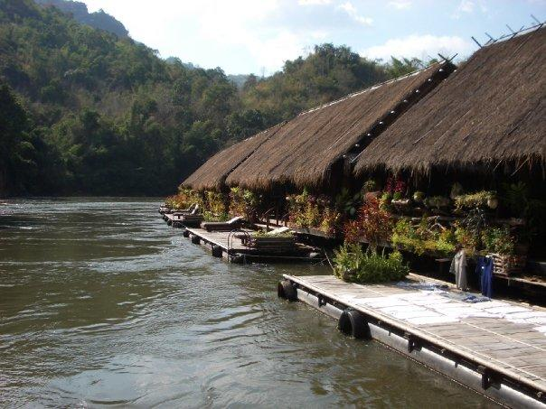Floating jungle rafts on the River Kwai