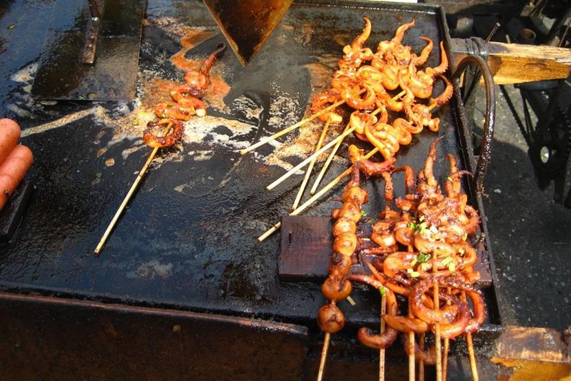 Octopus kebabs