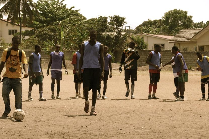 Group of men on soccer pitch