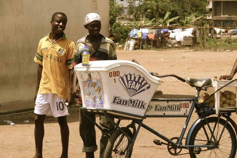 Locals selling Fan Milk