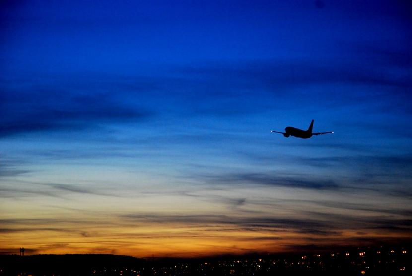A plane in the evening sky