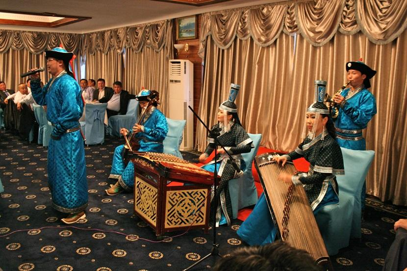 Mongolian performers in traditional dress