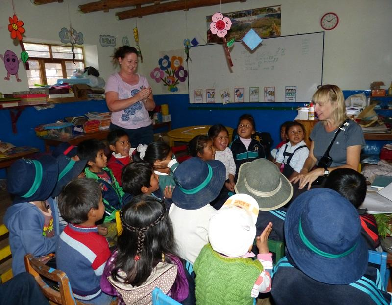 Projects Abroad Grown-up Special volunteer Sheena on her placement in Peru, in a classroom with children