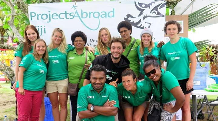 Group of volunteers and locals in the shark conservation project in Fiji, Australasia
