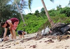 Projects Abroad work to clean up a beach in Cambodia.