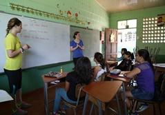 SUNY-Cortland volunteers teach a class in a Costa Rican school.