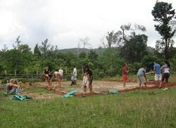 Clearing land for the playground