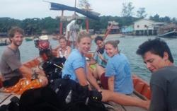 Volunteers on the dive boat