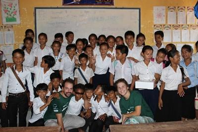 Projects Abroad Marine Conservation volunteers run educational programmes about the environment in community schools in Cambodia