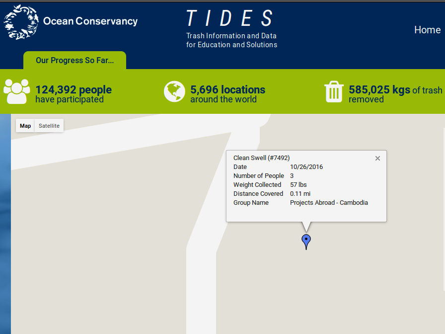 An example of one of our Ocean Conservancy clean-up entries. Within the database our clean-ups can be viewed on a map and our total collections and clean-up efforts can be seen. A nice addition is that award badges are earned as we go along, celebrating milestones reached.
