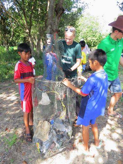Projects Abroad Conservation volunteers in Cambodia ran activities for children as part of the Green Protectors programme, to educate about marine ecosytems