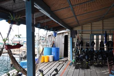 Diving material on the base deck of the Conservation project in Cambodia