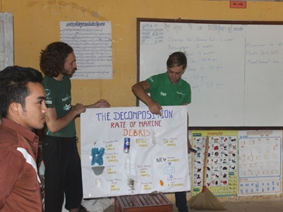 Volunteers teaching children about decomposition rates of marine debris on World Oceans Day