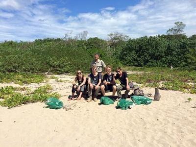 Projects Abroad Costa Rica volunteers help with a beach clean-up at Baulas Marine National