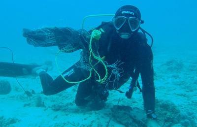 Destroyed bait cage