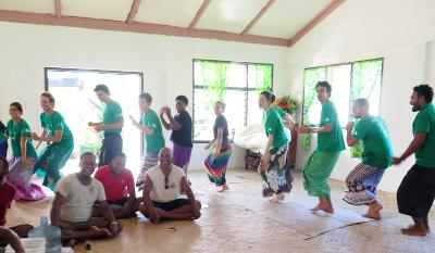 Volunteers dancing