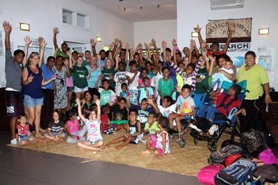 Volunteers with some of the children in Fiji
