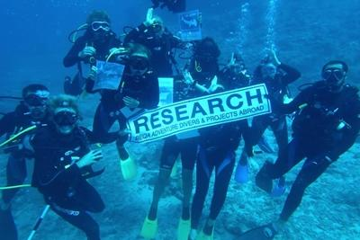 A group of Projects Abroad Shark Conservation volunteers take part in Survey Dive in Fiji