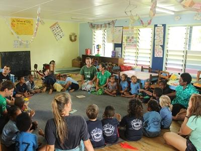 Giving a class on sharks and mangroves at a local school