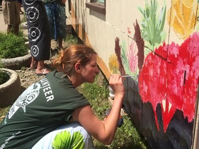 Shark conservation volunteers paint local school buildings