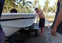 Volunteers working on the boat