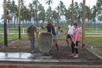 Helping concrete the floor