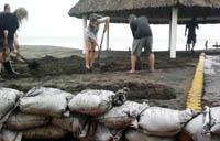 Protecting the corral with sandbags