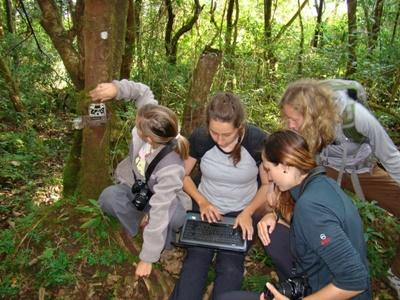 Volunteers on the Projects Abroad Conservation project in Nepal checking camera traps
