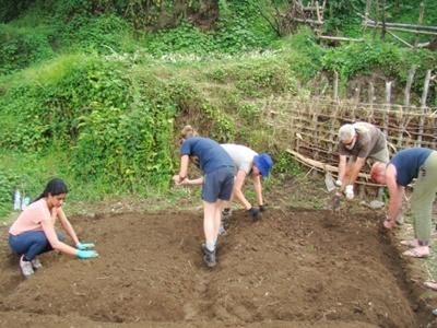 Volunteers on the Projects Abroad Conservation project in Nepal working in the nursery