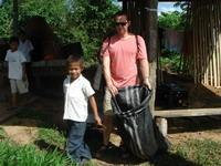 Community children help in the clean up