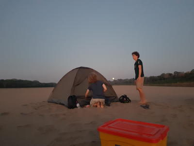 Volunteers camping on the turtle beach
