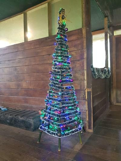 An ecologically friendly Christmas tree built entirely from regenerated bamboo