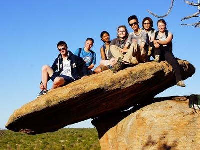 A group of Projects Abroad volunteers at their conservation project in Wild at Tuli reserve, Botswana.