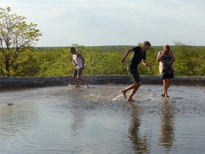 Volunteers enjoying the water in Botswana