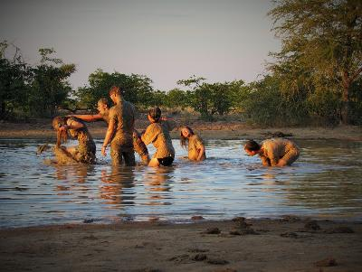 Volunteers relax and have fun at a waterhole