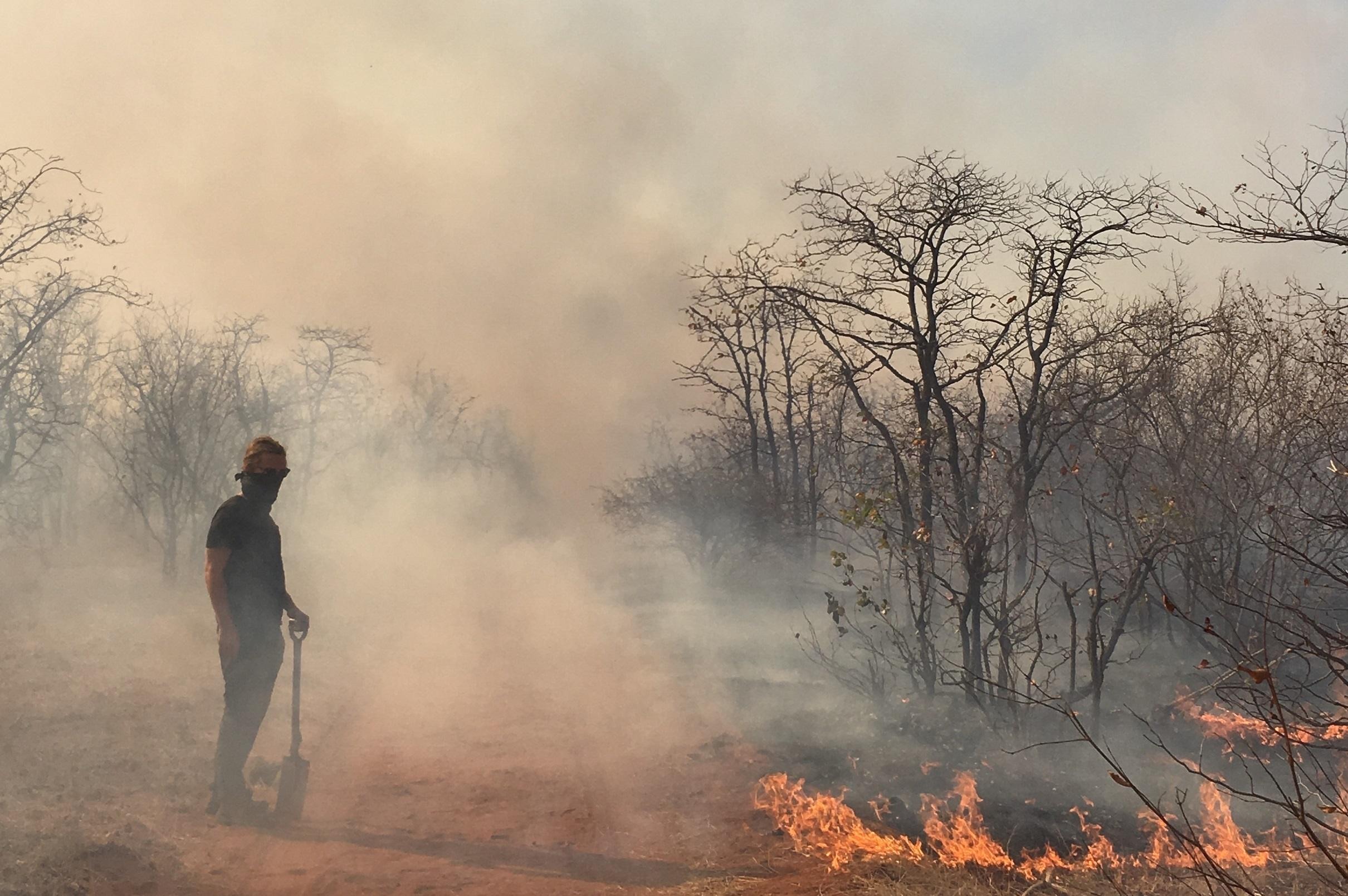 A volunteer helps fight bush fires