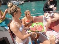 Snacks on the dive boat