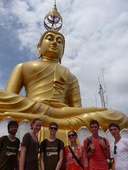 Group at Buddha statue