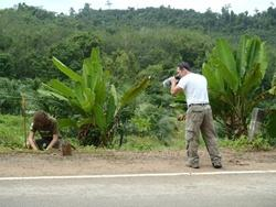 Film crew filming conservation volunteer