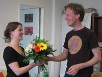 Kathrin receiving her flowers