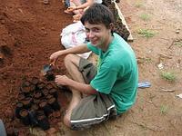 Filling mangrove seed bags