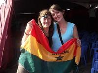 Volunteers with Ghanaian flag