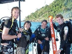 Staff and volunteers after a dive