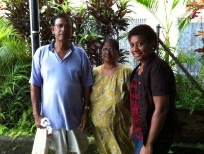 Fijian family receiving donation
