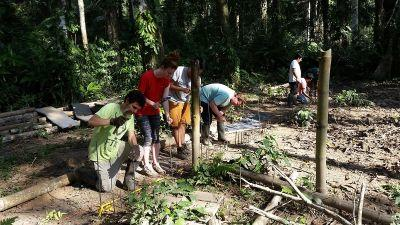 Die Mitarbeiter von Projects Abroad Peru bauen im ökologischen Reservat Taricaya neue Behausungen für ehemalige, misshandelte Zirkustiere in Zusammenarbeit mit Animal Defenders International (ADI)