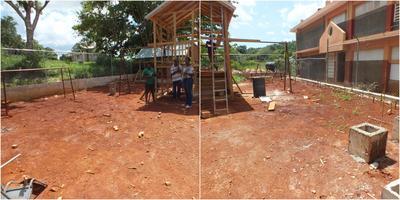 Freiwillige errichten ein neues Spielhaus für die Schüler in Sedburgh, Jamaika