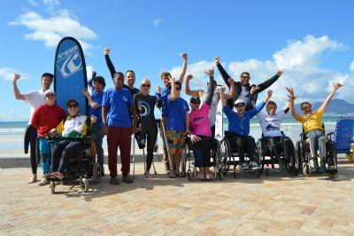 Excitement before the start of the Adaptive Surfing competition
